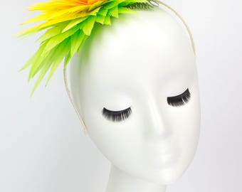 """Lotus Feather Flower Headband - """"Citrus"""" - Millinery by Amy Fowler"""