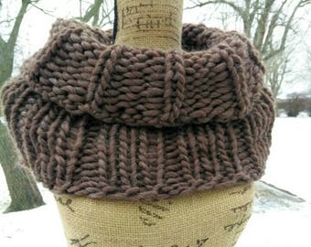 Extra Thick Outlander Wool Cowl in Mocha Brown