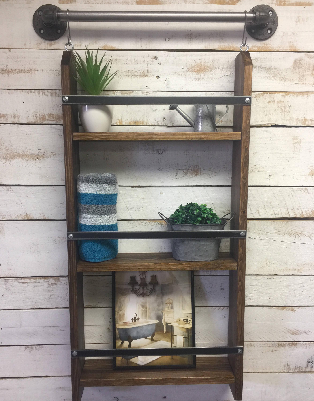 Distressed Ladder Shelf Chippy Paintrustic Farmhouse Shelf