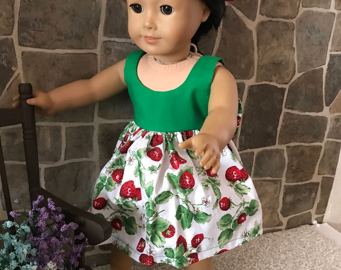 "End of Summer Sale!!! Green/Strawberry Dress with Bow in back made to fit 18"" dolls FREE SHIPPING"