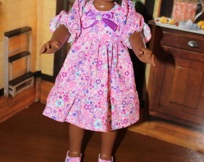 Small Pink Flowers Print Dress,Ribbon, Shoes made to fit the likes of Wellie Wisher and other 14.5 inch dolls, FREE SHIPPING