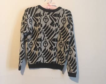 80s black and white knit sweater, abstract print pullover, xs small - vintage -