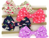 SALE SET OF 4 Fabric headbands lot 1 size fits all, comfy baby newborn girls hair, floral dot nylon wraps, cotton bows