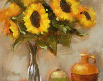 Sunflowers and Vessels...Original Oil Painting by Maresa Lilley, SND