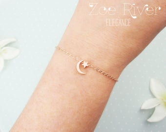 I love you to the moon and back bracelet. dainty rose gold moon and star bracelet. Elegant and dainty rose gold bracelet