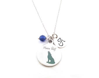 Mama Wolf Necklace - Birthstone Necklace - Personalized Necklace - Initial Necklace - Sterling Silver Necklace