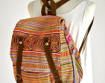 Indie Style Messenger Backpack Belt Bag Cotton Handbag Travel Everyday Bag NDW818