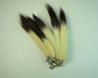 REAL FUR & RHINESTONE Brooch, Art Deco, Handmade, Long Tails