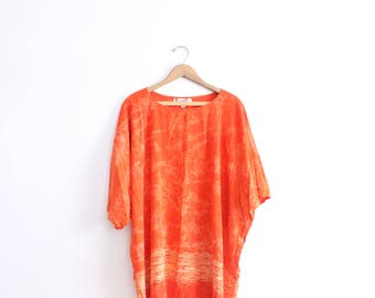 Orange Batik Beachy Kaftan Dress