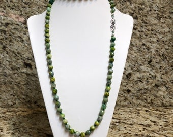 Green Agate  Hand Knotted Necklace with Sterling silver clasp and matching earrings.