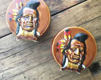 Vintage Indian Chief Head Salt & Pepper Shakers 1950's hand painted drum shape