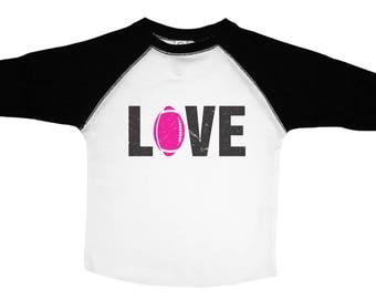 Girls Football Shirt, Love Football, Football Shirts for Girls, Girls Sports Tees, Pink Football Tee, Toddler Football Shirt, Kids Football