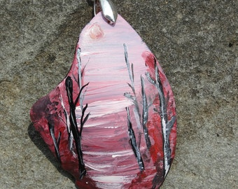One-of-a-Kind OOAK Hand Painted Upcycled Tumbled Glass Woodland Pendant 51x39mm