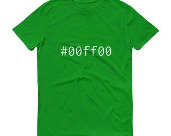 Green #00ff00 Mens Short-Sleeve T-Shirt Graphic Design Code Shirt