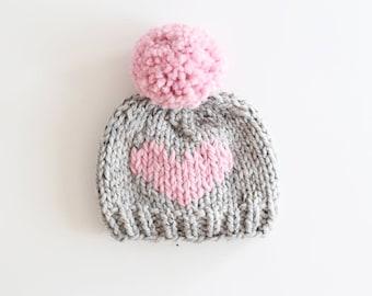 Baby Pom Pom Beanie, Pom Pom Hat, Baby Hat, Gray and Pink baby Hat, Pompom hat, Heart Baby Hat, Ready to Ship