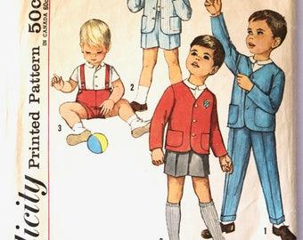 Vintage 1960s Toddler Boys Shirt, Jacket, Pants/Slacks, and Shorts Sewing Pattern Simplicity 4913 Size 1