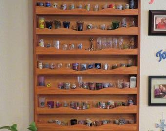 Wood Display case, rustic display shelf, shot glass display case, shelf, rustic, country, glasses, spice rack, handmade, wood