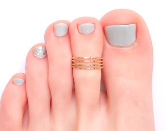 Gold Toe Ring, Adjustable 4 strand hammered 14K yellow gold-filled toe ring, knuckle ring, midi ring, summer ring, 14K gold-filled
