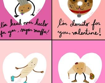 Bread Friends Valentine Cards - Printable File