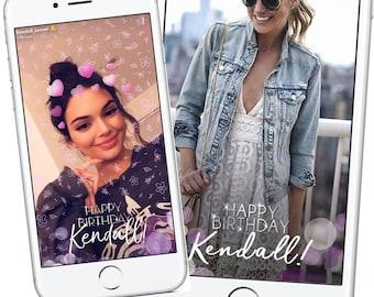 Kendall Jenner Inspired Snapchat Birthday Geofilter, 21st Birthday Snapchat Filter, Celebrity Snapchat Geofilter, Bachelorette 21st Birthday