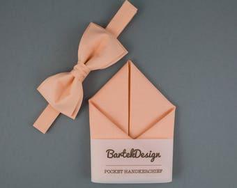 Orange Bow Tie Orange Pocket Square Matching Set Bow Tie Handkerchief Pastel Bow Tie for Men Gift for Men Salmon Bow Tie Salmon Handkerchief