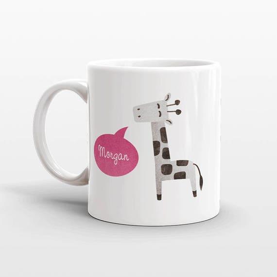 Custom Name Mug, Giraffe Mug, Personalized Mug, Unique Coffee Mug, Office Mug, Best Friend Gift, Birthday Gift, Cute Animal Lover Gift