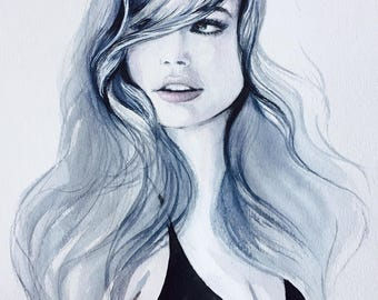 Original Watercolor Fashion Illustration, Beauty Decor, Fashionista Wall Art, Black and White Art Portrait, Beauty Hair Illustration, Woman