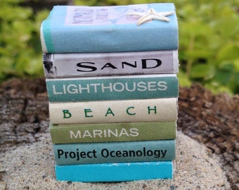 Dollhouse miniature collection of beach themed books
