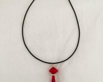 Handblown Venetian glass pendant beads in red