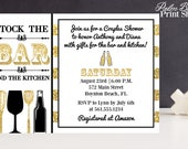 Stock the Bar and Kitchen Couples Shower Invitations - Printable Cocktail Party Invitations - Housewarming Party - Adult Party Invitations