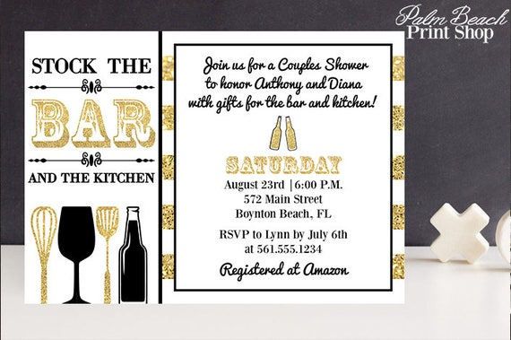 Stock the Bar and Kitchen Couples Shower Invitations Printable