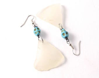 Rhode Island White Sea Glass Earrings with Turquoise Sugar Skull Beads with Your Choice of Ear Wires, Stainless Steel or Sterling Silver
