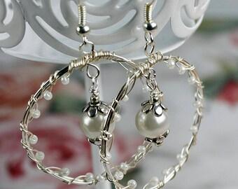 classic pearl wedding hoop earrings