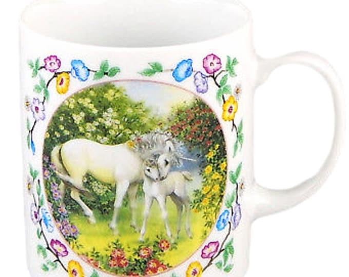 Unicorn Mug, Vintage Coffee Cup, Joyful Meadow of the Unicorn, Ruth Sanderson, Hand Crafted, Japan