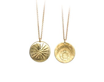 Vergina Sun Necklace. Etched Coin Necklace. Star of Vergina, Macedonian Star, Argead Star.