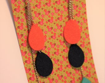 Collection Pop-long earrings (Navy blue/orange/turquoise)