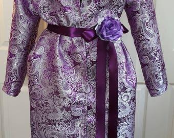 Hermoso brocado morado y plata metálica Midi poca capa vestido boda traje Fiesta Club noche nupcial