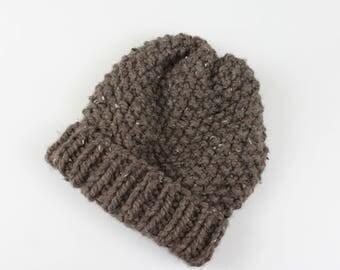 Chunky Knit Wool Hat Fold-Over Brim Beanie | THE EDINBURGH in Barley