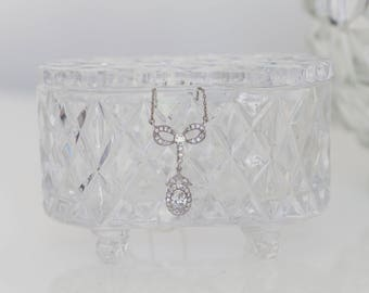SALE - Sterling Silver Vintage Style Bow Pendant Set with Cubic Zirconias - Perfect for Brides!