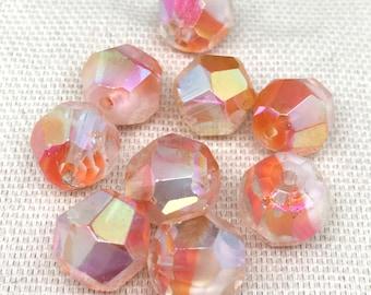 10 Vintage Opalescent Orange Givre German Glass Beads Faceted 10mm