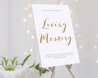 Memorial wedding sign, Loving memory wedding sign perfect way to honour your loved ones. Printable Pdf wedding sign