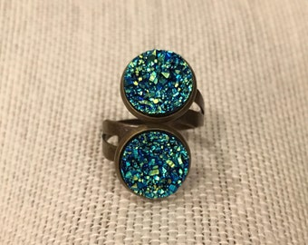 12mm Metallic-Blue Faux Druzy Double Bezel Bronze Adjustable Ring