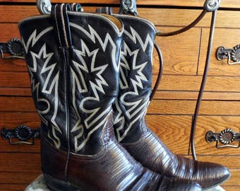 Vintage Tony Lama, Stitched Armadillo, Lizard Western Cowboy Boots, Women's Size 6 1/2 B