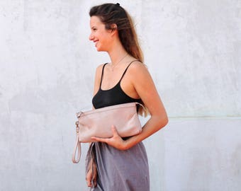 Rustic pink clutch, leather clutch wristlet, large clutch purse, clutch bag with zipper, women leather bag, elegant evening purse, for her