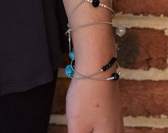 Guitar String Jewelry - Wrap Bracelet - Turquoise - Silver - Feather charms - Toggle clasp
