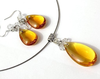 "Set with Choker and matching earrings in yellow glass and Crystal drops: ""Good time"" - yellow"