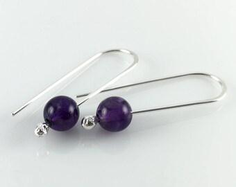Amethyst Earrings in Sterling Silver | Amethyst Drop Earrings | Simple Silver Earrings | Gemstone Earrings | Gift for Her | Girlfriend Gift