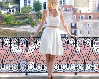 Grace Vintage Style Wedding Two Piece Dress. White Crop Top and Skater Skirt Bridesmaid/Wedding Guest Dress. Casual White Wedding Dresses