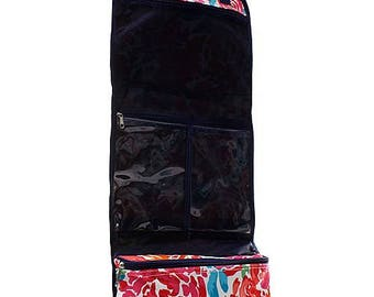 Monogrammed Hanging Cosmetic Bag Floral Travel Cosmetic Case