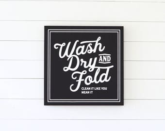 WASH DRY and FOLD Painted Wood Sign (with painted frame) S,M,L sizes available | Wall decor  (Rustic Chic, Modern Farmhouse, fixer upper)